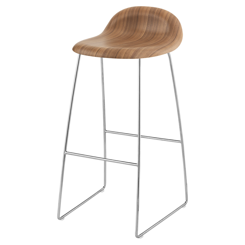 Remarkable 3D Counter Stool American Walnut Chrome Sledge Base Inzonedesignstudio Interior Chair Design Inzonedesignstudiocom