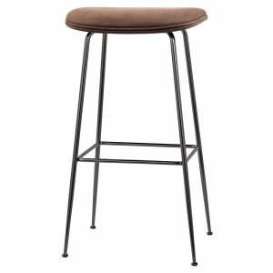 Beetle Bar Stool - Brown Nubuk Leather, Black Chrome Base