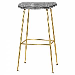 Beetle Bar Stool - Gray Colline, Brass Base