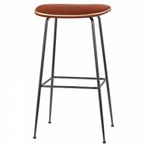 Beetle Bar Stool - Orange Velvet, Black Chrome Base