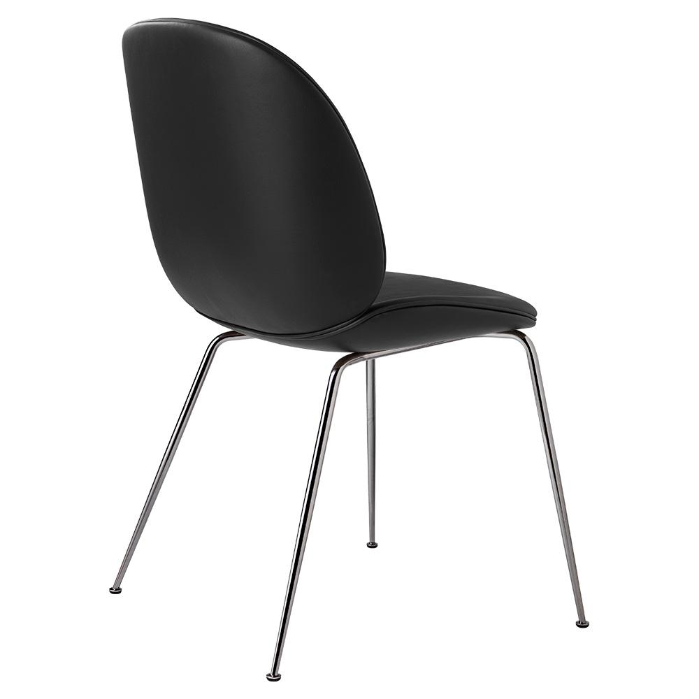 beetle fully upholstered dining chair black leather black chrome base rouse home. Black Bedroom Furniture Sets. Home Design Ideas