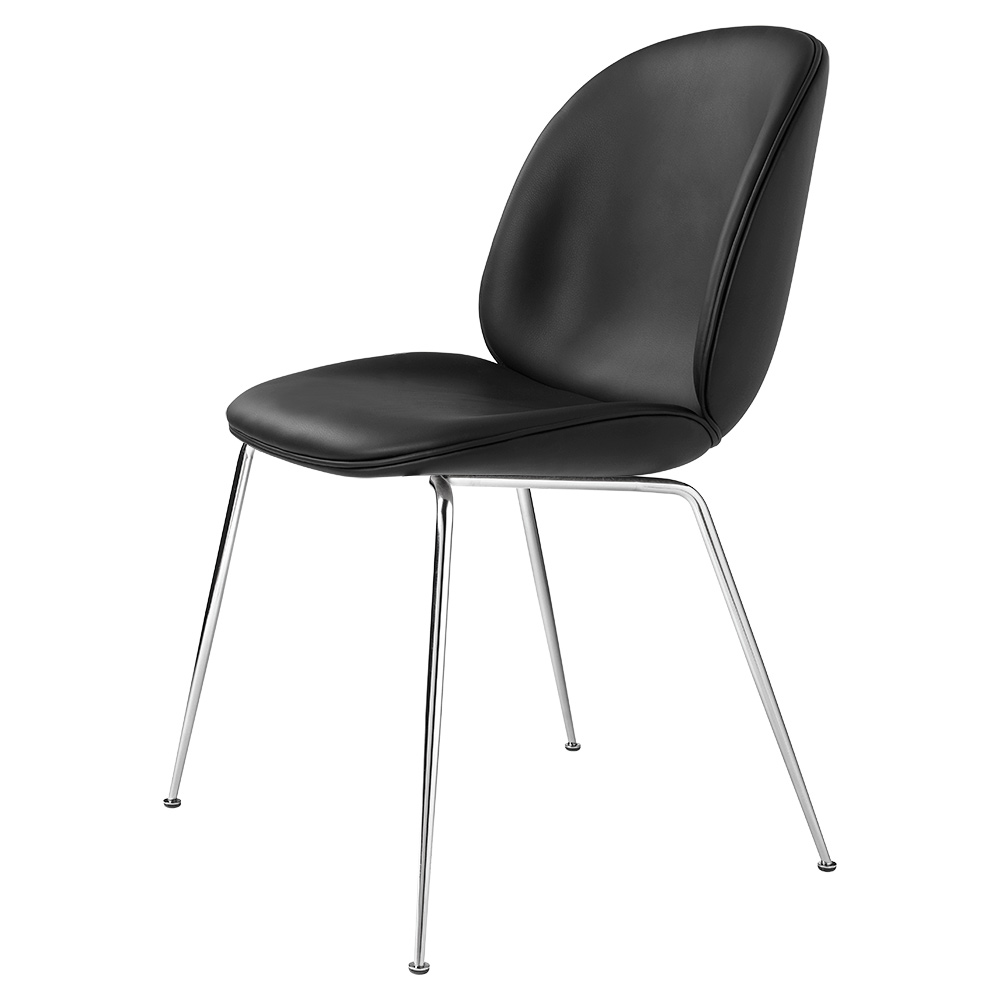 beetle fully upholstered dining chair black leather chrome base rouse home. Black Bedroom Furniture Sets. Home Design Ideas