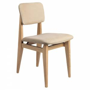 C-Chair Fully Upholstered Dining Chair - Chamois Leather, French Cane Back, Oak Oiled