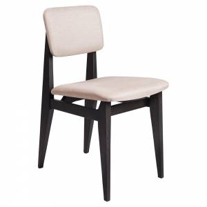 C-Chair Fully Upholstered Dining Chair - Sinequanon, French Cane Back, Brown/Black Stained Oak Lacquered