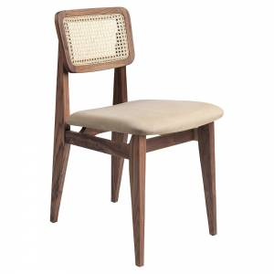 C-Chair Seat Upholstered Dining Chair - Chamois Leather, French Cane Back, American Walnut Oiled