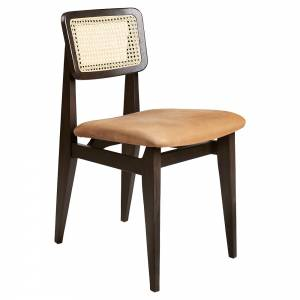C-Chair Seat Upholstered Dining Chair - Nubuk Leather, French Cane Back, Brown/Black Stained Oak Lacquered