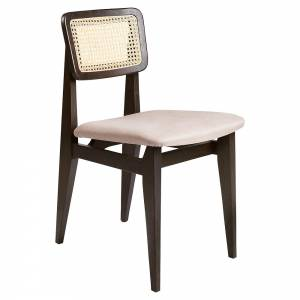 C-Chair Seat Upholstered Dining Chair - Sinequanon, French Cane Back, Brown/Black Stained Oak Lacquered