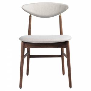 Gent Fully Upholstered Dining Chair - Sinequanon, American Walnut Oiled, Antique Brass