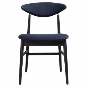 Gent Fully Upholstered Dining Chair - Vidar, Brown/Black Stained Oak Lacquered, Dark Antique Brass