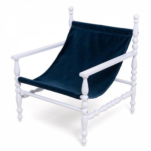 Heritage Deck Armchair - White, Blue