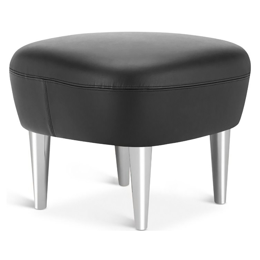Awesome Wingback Ottoman Black Leather Elmosoft Chrome Legs Theyellowbook Wood Chair Design Ideas Theyellowbookinfo