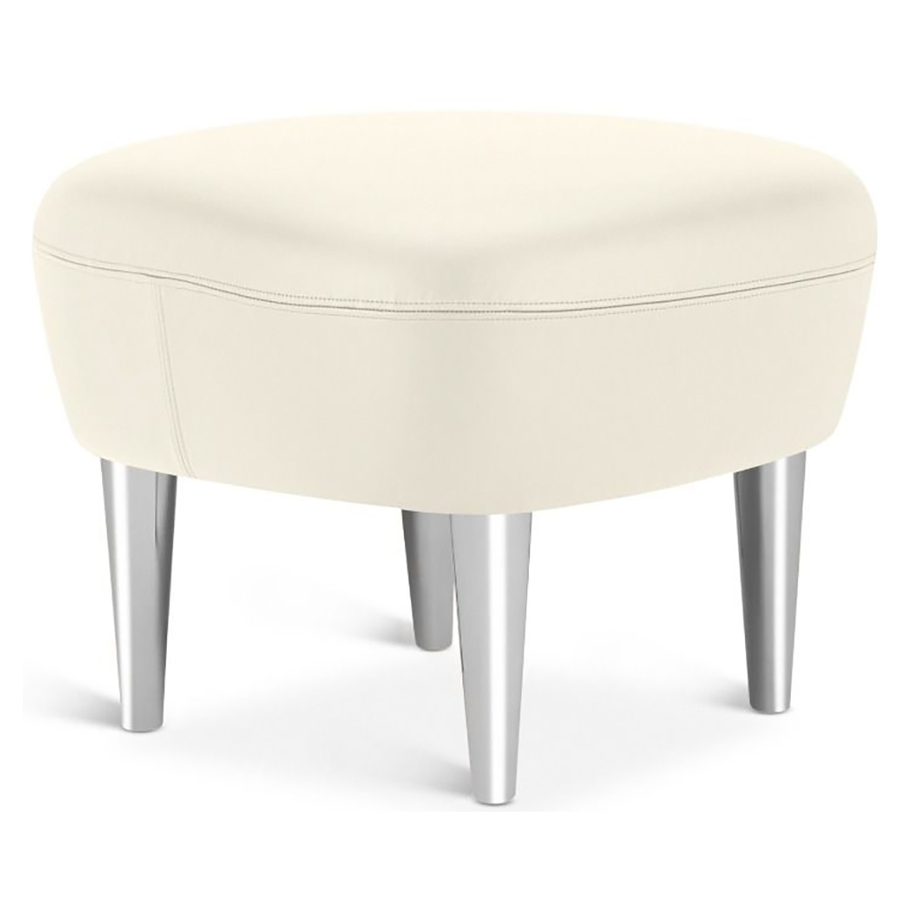 Super Wingback Ottoman Ivory Leather Elmosoft Chrome Legs Theyellowbook Wood Chair Design Ideas Theyellowbookinfo