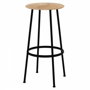 Baretto Bar Stool - Black, Black Frame
