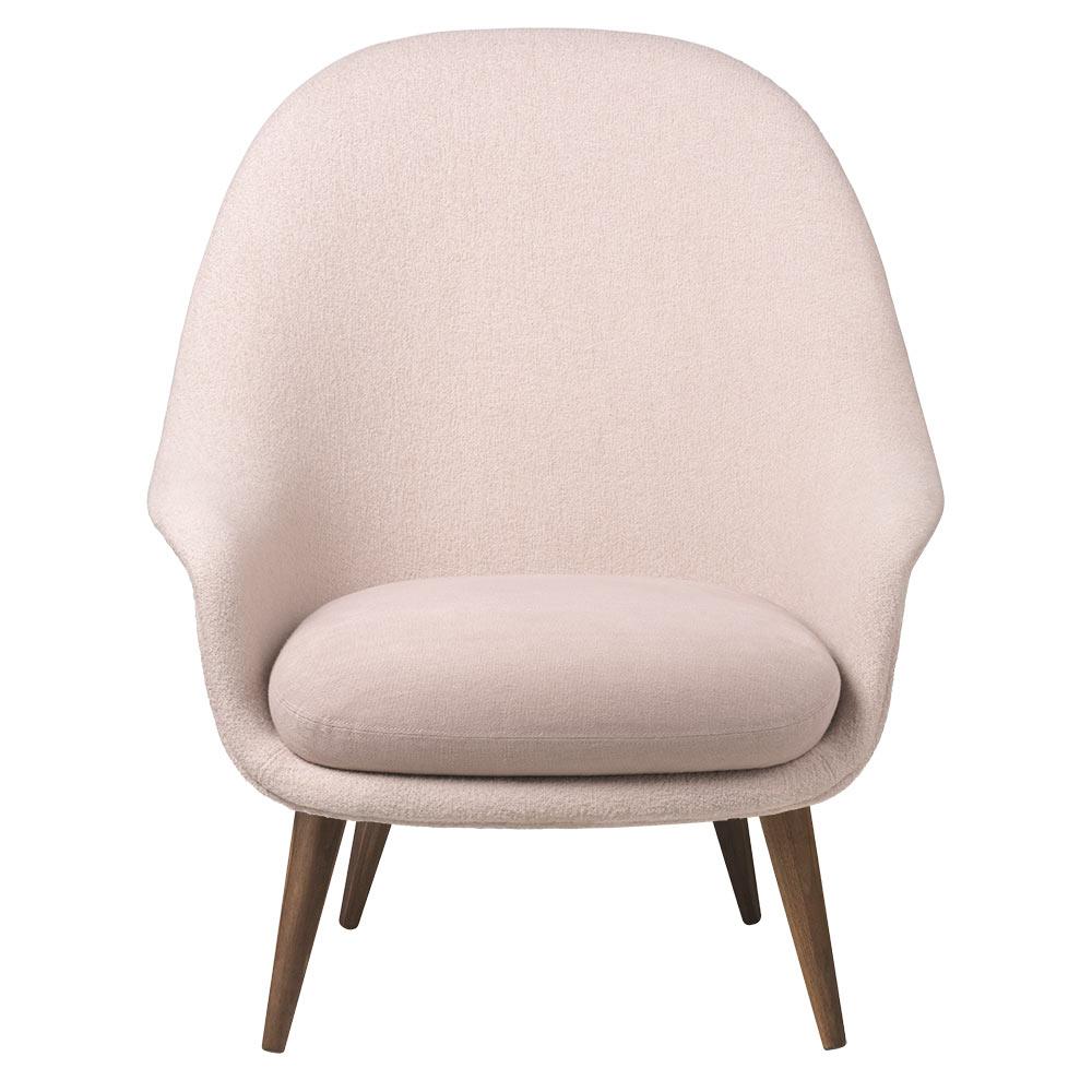 Bat High Back Lounge Chair Pink American Walnut Oiled