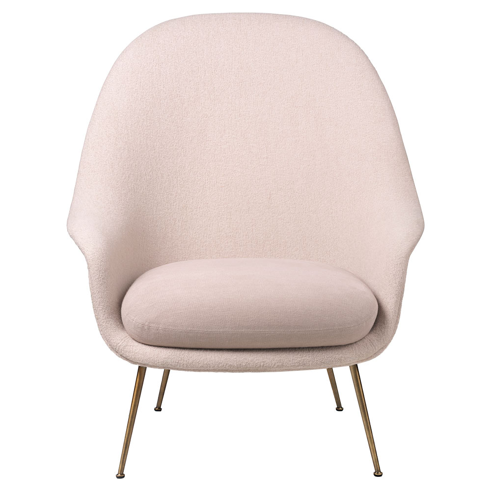 Bat High Back Lounge Chair - Pink, Antique Brass Base