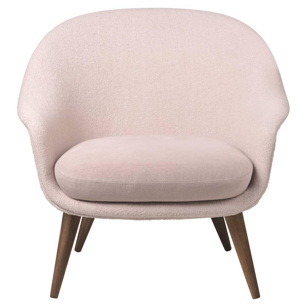 Merveilleux Bat Low Back Lounge Chair   Pink, American Walnut Oiled