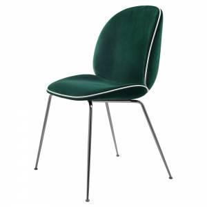 Beetle Fully Upholstered Dining Chair - Dark Green Velvet, White Velvet Piping, Black Chrome Base