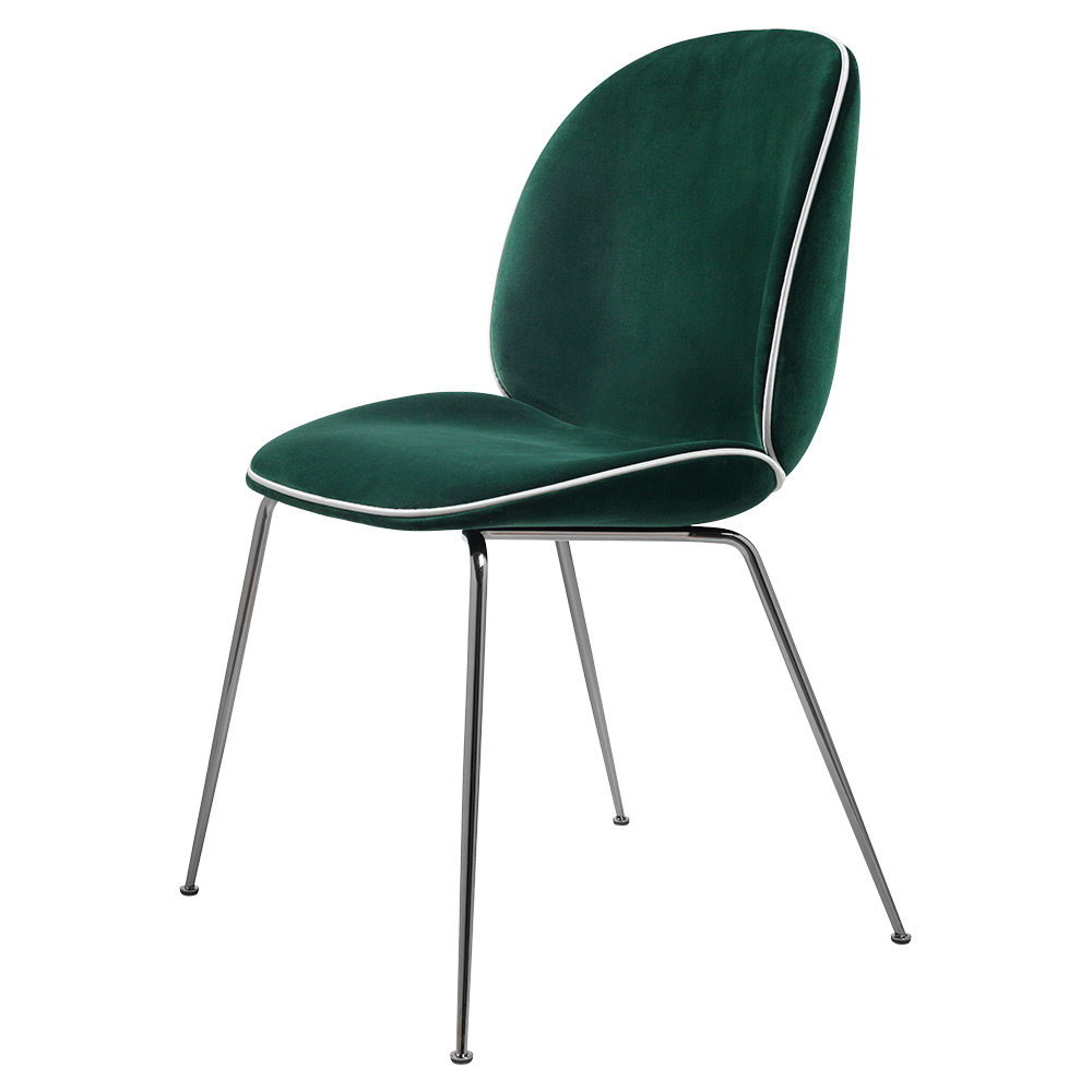 Beetle Fully Upholstered Dining Chair Dark Green Velvet