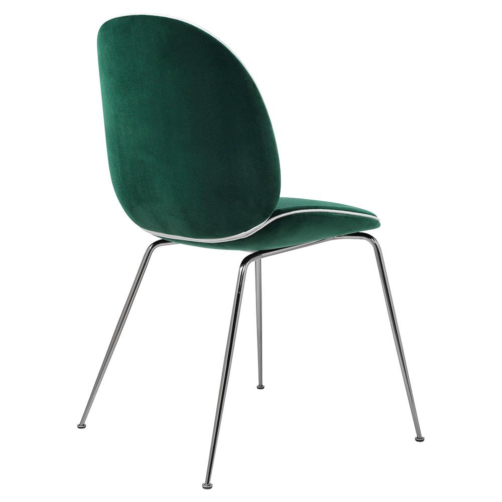 Beetle Fully Upholstered Dining Chair Dark Green Velvet White Piping Black Chrome Base