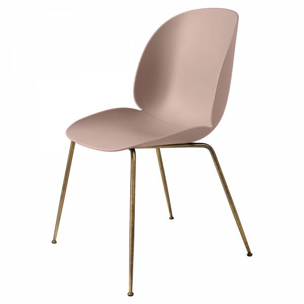 Beetle Unupholstered Dining Chair - Sweet Pink, Antique Brass Base