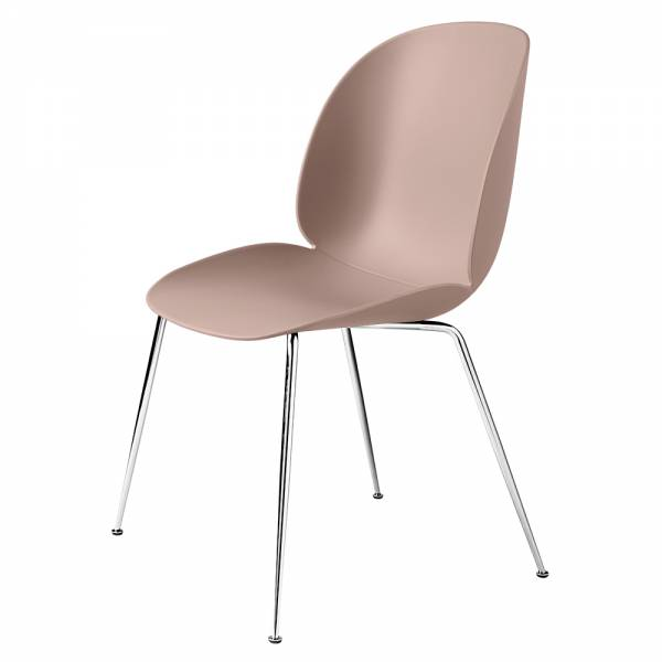 Beetle Unupholstered Dining Chair - Sweet Pink, Chrome Base