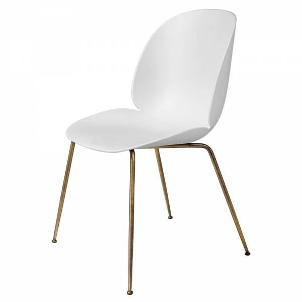 Beetle Unupholstered Dining Chair - White, Antique Brass Base