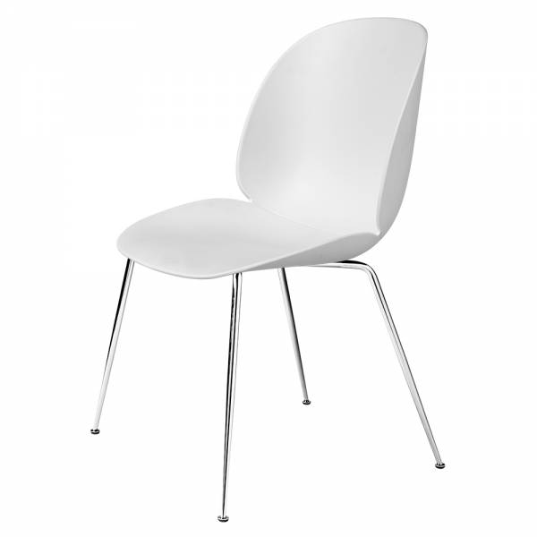 Beetle Unupholstered Dining Chair - White, Chrome Base