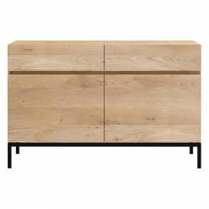 Ligna Sideboard - 2 Doors, 2 Drawers, Oak, Black Metal Legs