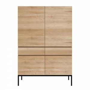 Ligna Storage Cupboard - 4 Doors, 2 Drawers, Oak, Black Metal Legs