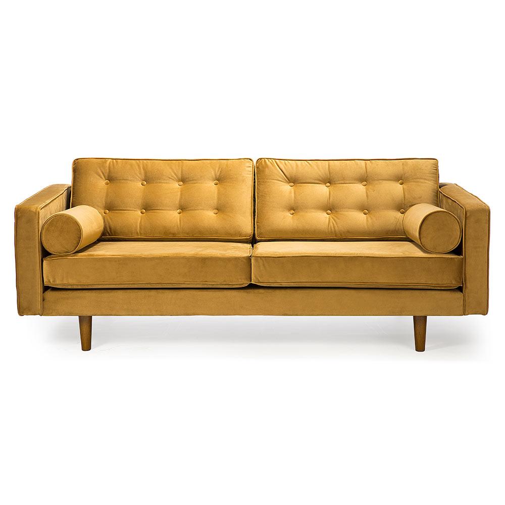 N101 3 Seater Sofa Gold Velvet