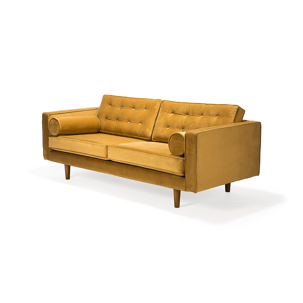 N101 3 Seater Sofa   Gold Velvet
