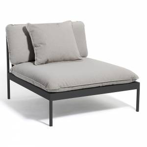 Bonan Lounge Chair - Light Gray Sling, Dark Gray Frame