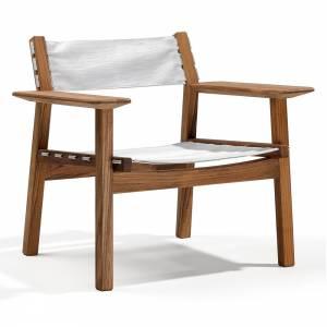 Djuro Lounge Chair - White Batyline, Teak