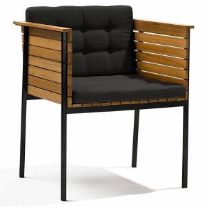 Haringe Armchair - Sooty Cushions, Black Frame