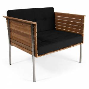 Haringe Lounge Chair - Black Cushions, Brushed Steel Frame