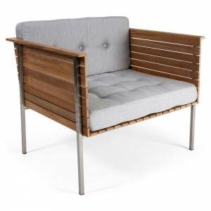 Haringe Lounge Chair - Gray Chine Cushions, Brushed Steel Frame
