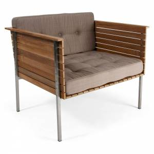 Haringe Lounge Chair - Heather Gray Cushions, Brushed Steel Frame