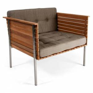 Haringe Lounge Chair - Nature Gray Cushions, Brushed Steel Frame