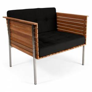 Haringe Lounge Chair - Sooty Cushions, Brushed Steel Frame