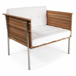 Haringe Lounge Chair - White Cushions, Brushed Steel Frame