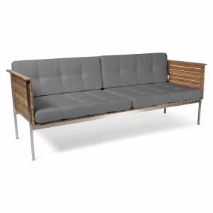 Haringe Lounge Sofa - Gray Chine Cushions, Brushed Steel Frame