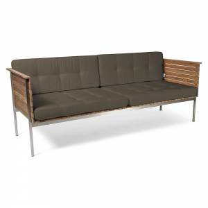 Haringe Lounge Sofa - Heather Gray Cushions, Brushed Steel Frame