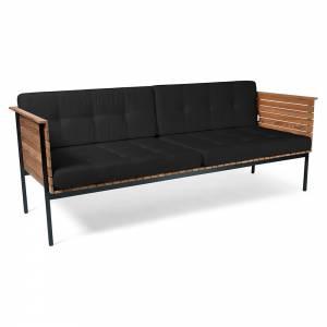 Haringe Lounge Sofa - Sooty Cushions, Black Frame