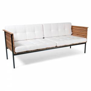 Haringe Lounge Sofa - White Cushions, Black Frame