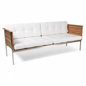 Haringe Lounge Sofa - White Cushions, Brushed Steel Frame