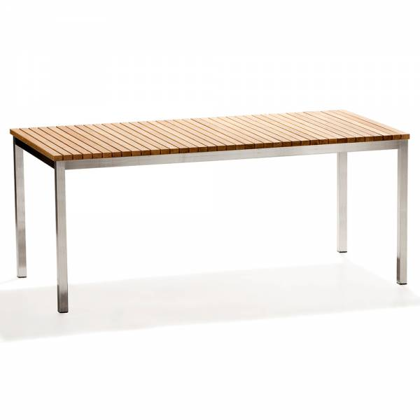 Haringe Rectangular Large Table - Teak, Brushed Stainless Steel Frame