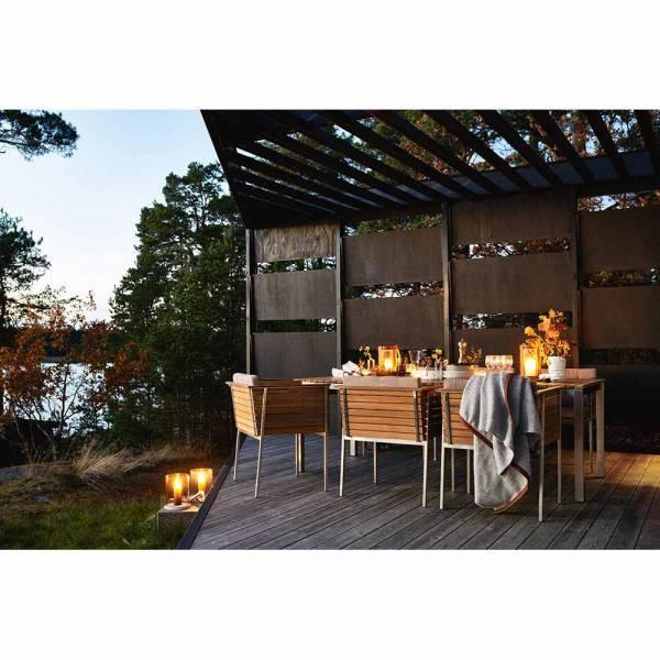 Haringe Rectangular Large Table - Teak, Brushed Stainless Steel Frame