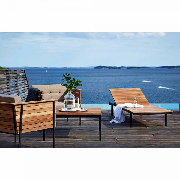 Haringe Rectangular Lounge Table - Teak, Black Stainless Steel Frame