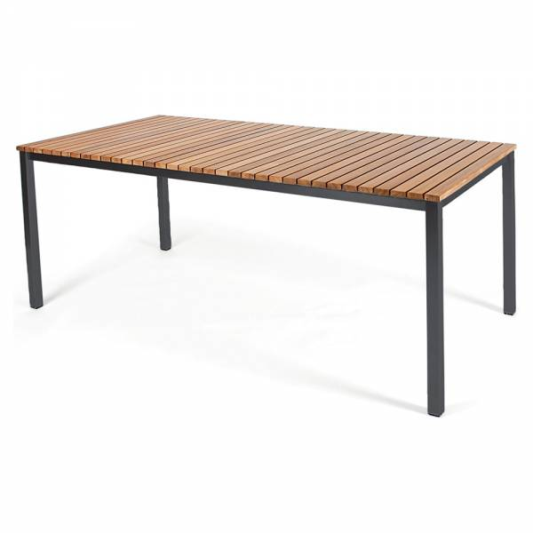 Haringe Rectangular Table - Teak, Black Stainless Steel Frame