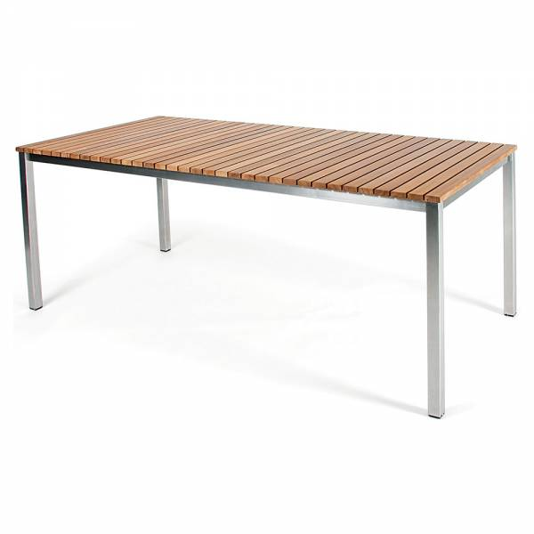 Haringe Rectangular Table - Teak, Brushed Stainless Steel Frame